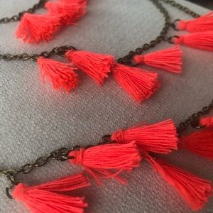 Neon coral tassel necklace